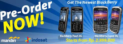 Blackberry Perl 3G and Curve 3G Indosat Pre-Order