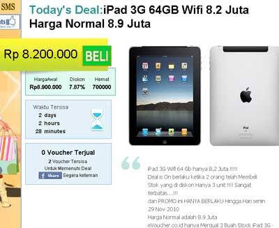 iPad 3G 64GB WiFi Harg Promo eVoucher