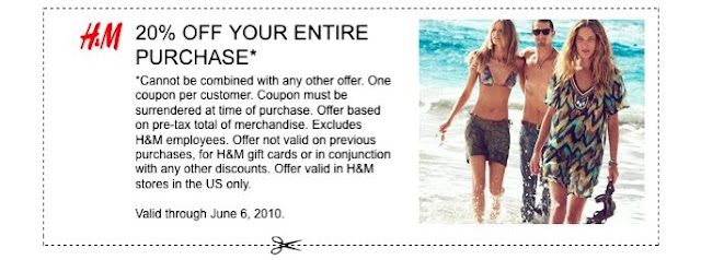 Get 20% off your entire purchase at H&M, ends 6/6! featured on Shopalicious.com