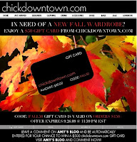 Spend $150.00 at Chickdowntown and get a $50.00 gift card, ends 9/26! featured on Shopalicious.com