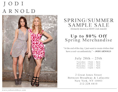 Jodi Arnold Spring/Summer sample sale in NYC, 7/20-25! feratured on Shopalicious.com