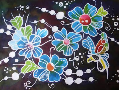 batik hiasan dinding media kertas lukisan a2 165 gsm dan warna batik ...