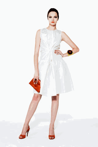 [ysl+white+orange+dress+outfit]