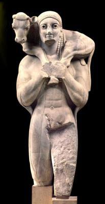Moscóforo, 570 A.C., Atenas, Museo de la Acrópolis.