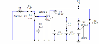 amplifier circuit using 386 electronic circuit