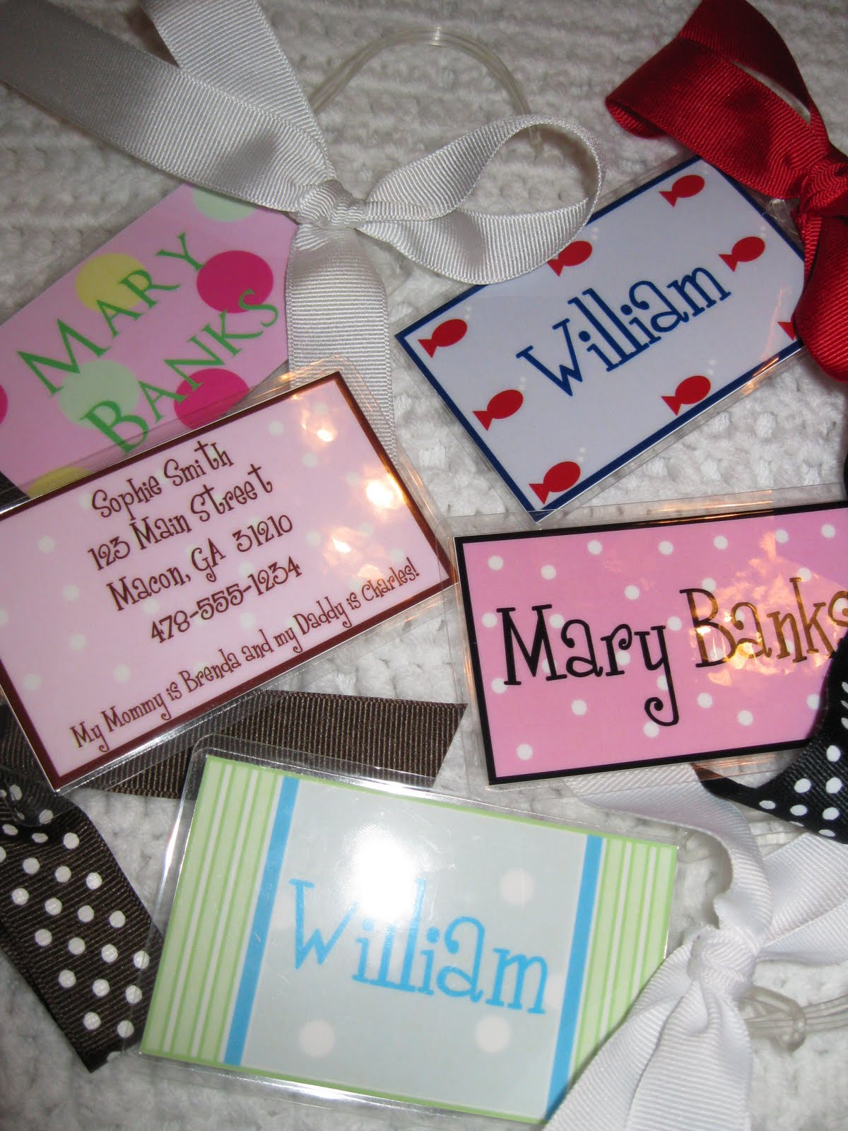 Church Nursery Diaper Bag Tags http://designswithcare.blogspot.com/