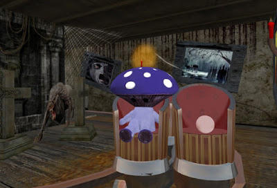 The mushroom avatar sitting on a cart, travelling through a haunted house ride.