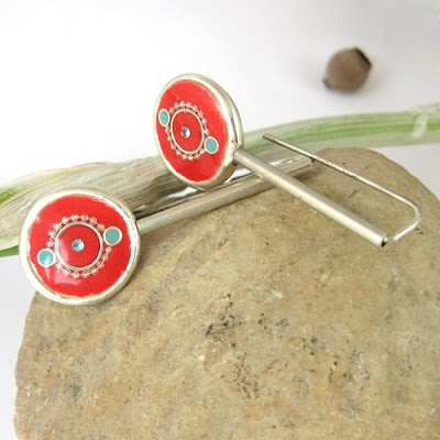Falling Red circle earrings