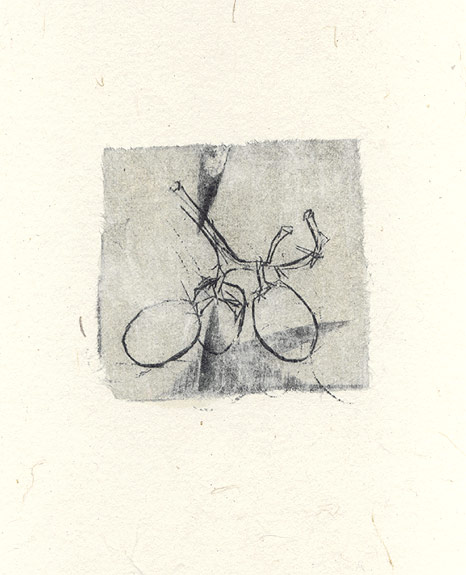 [untitled] 1997, Fruit series. drypoint & chine colle on Arches printmaking paper. 7 x 8 cm (plate image size)