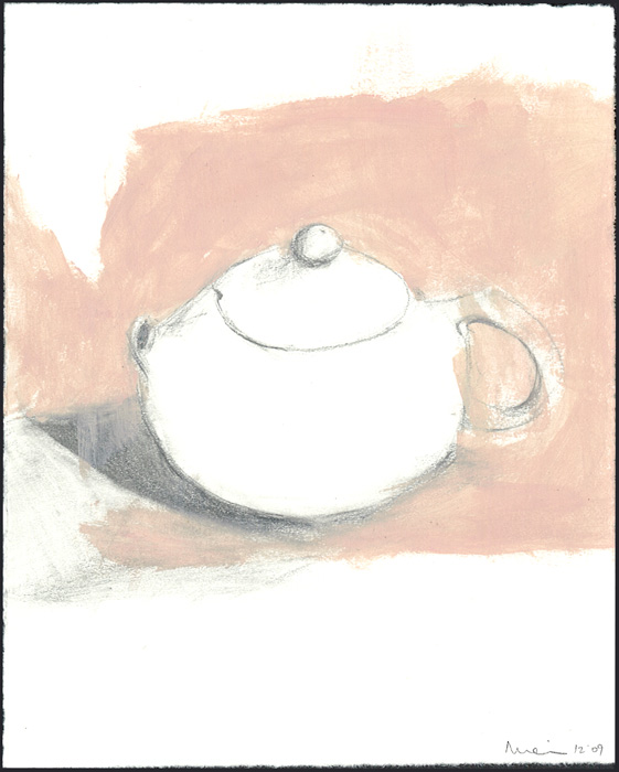 Tea Time, 2009. pencil and acrylic on paper. 12.7 x 10.2 cm