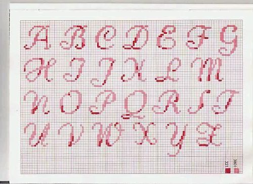 Letra cursiva en punto de cruz - Imagui