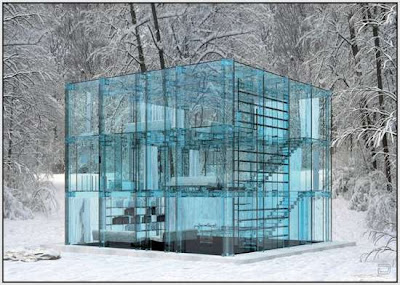 transparent house concrete art