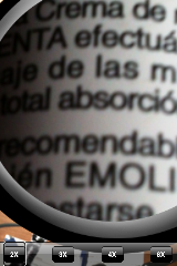 Vista de la lupa de la aplicación Magnifying Glass