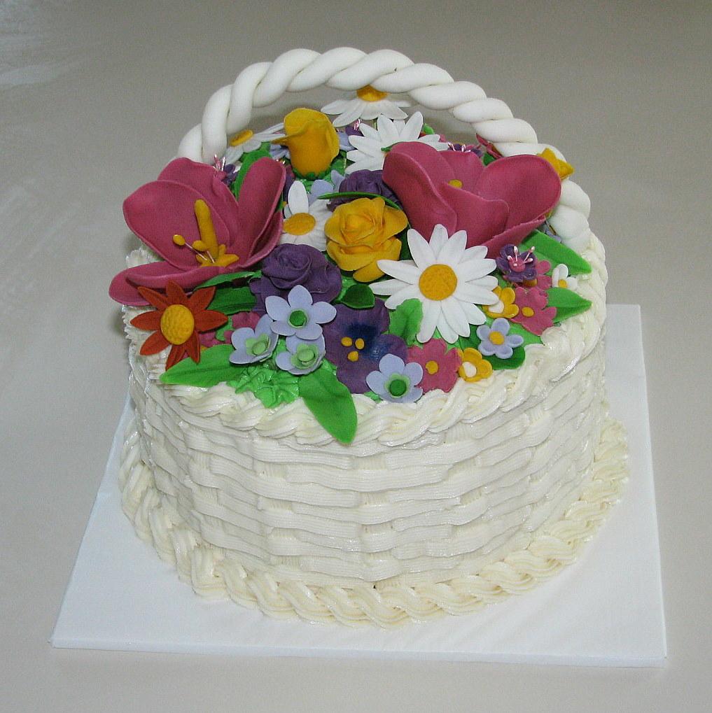 Kdf Creations Flower Basket Birthday Cake