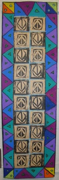 thomas elementary art 5th grade adinkra printmaking