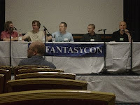 The Doctor Who Panel: L to R: Rob Shearman, David J Howe, Mark Morris, Simon Guerrier, Simon Clark