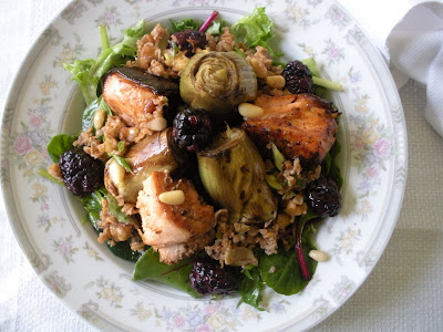 Baby Artichokes and Salmon dressed in Balsamic Vinegar Served on a bed of Bazargan (bulgur wheat),