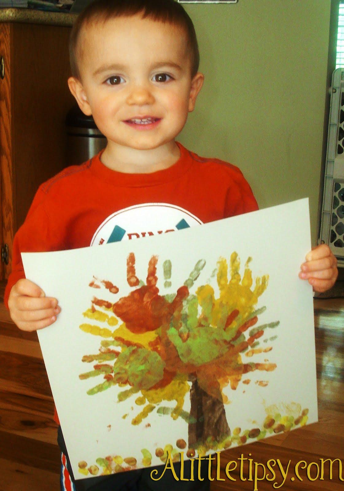 Finger Painting Fall Handprint Tree