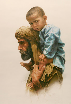 child and father painting