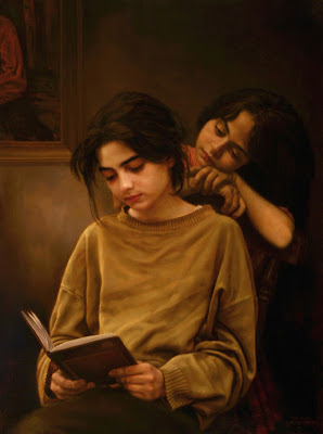 oil painting two girls reading a book
