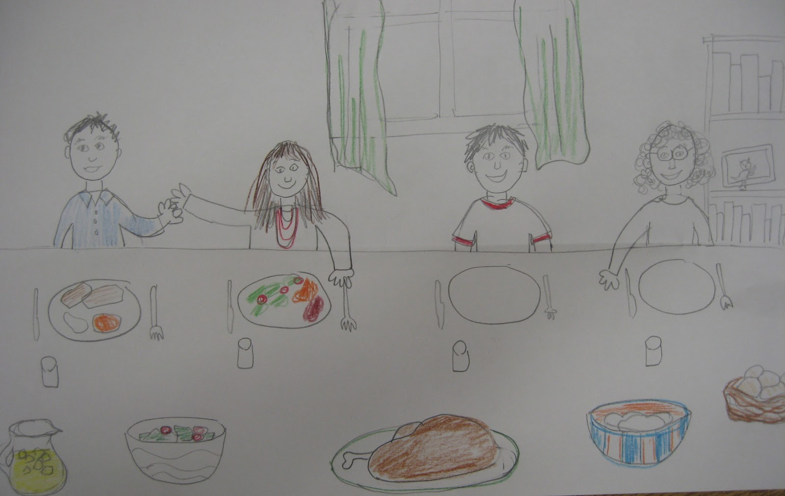 how to draw people at a dinner table easy
