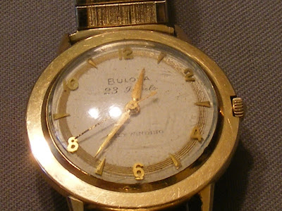 Ladies Bulova Watch 10k Rolled Gold with Antique Cameo Swivel Pin