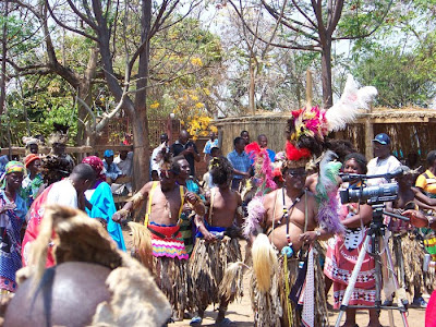 Mr Katola (in elaborate head gear) at the Ngoma or Ngoni Festival