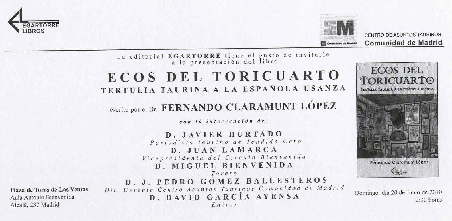 LOS TOROS CON AGUSTÍN HERVÁS.: junio 2010