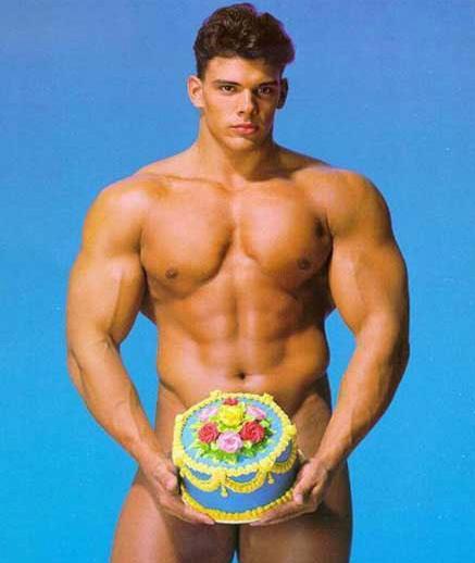 naked man on cake