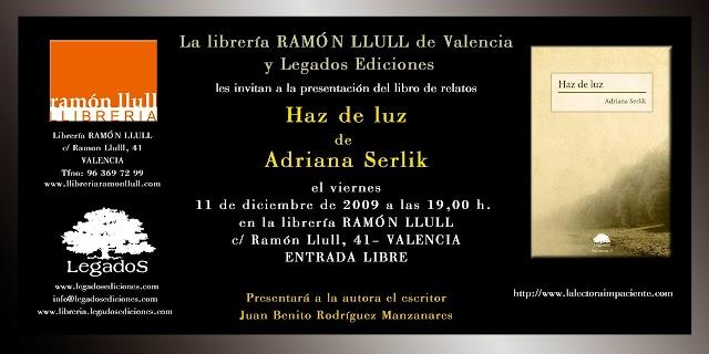Presentación del libro HAZ DE LUZ de ADRIANA SERLIK