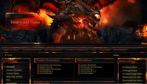 World of Warcraft Joomla Flash Theme