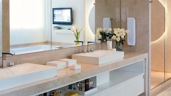 Chic and Chick Use e abuse dos gabinetes -> Banheiro Moderno Marron
