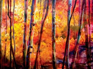 Fire and gold birch tree oil painting