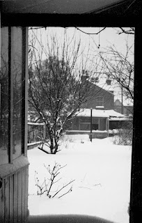 Right: The View From Our Veranda Out Onto The Garden. At The Bottom, You  Can Just Make Out How High The Snow Piled Up Against The Door.