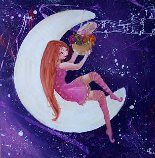 commande de peinture acrylique petit fée assise sur la lune qui tient des bonbons dans ses mains