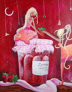 deux fées l'une assise sur un pot de confiture l'autre sur la pointe des pied est en train de donner une fraise. c'est un pot de confiture bonne maman les petites fées on des chausettes rayés des cheveux longs et des grandes robes, cette peinture cette