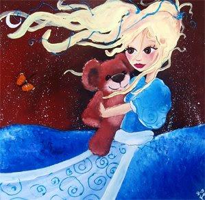 princesse fée robe bleue et nounours par l'illustratrice laure phelipon