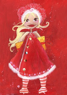 une petite fille fée princesse qui cache un cadeau dans son dos, elle a un manteau rouge avec de la doudoune blanche et un bonnet de laine rouge