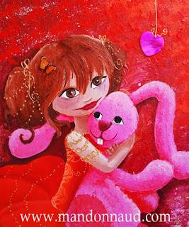 illustration d'un lapin en peluche avec une petite princesse qui le tien dans ses bras, le lapin est rose, elle a une jolie robe rouge un coeur est suspendu à droite par l'illustratrice laure phelipon