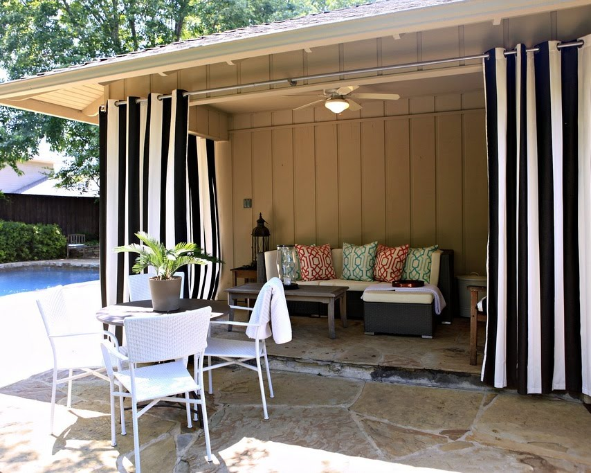 Finally, the plan to hang curtains around our covered patio has been ...