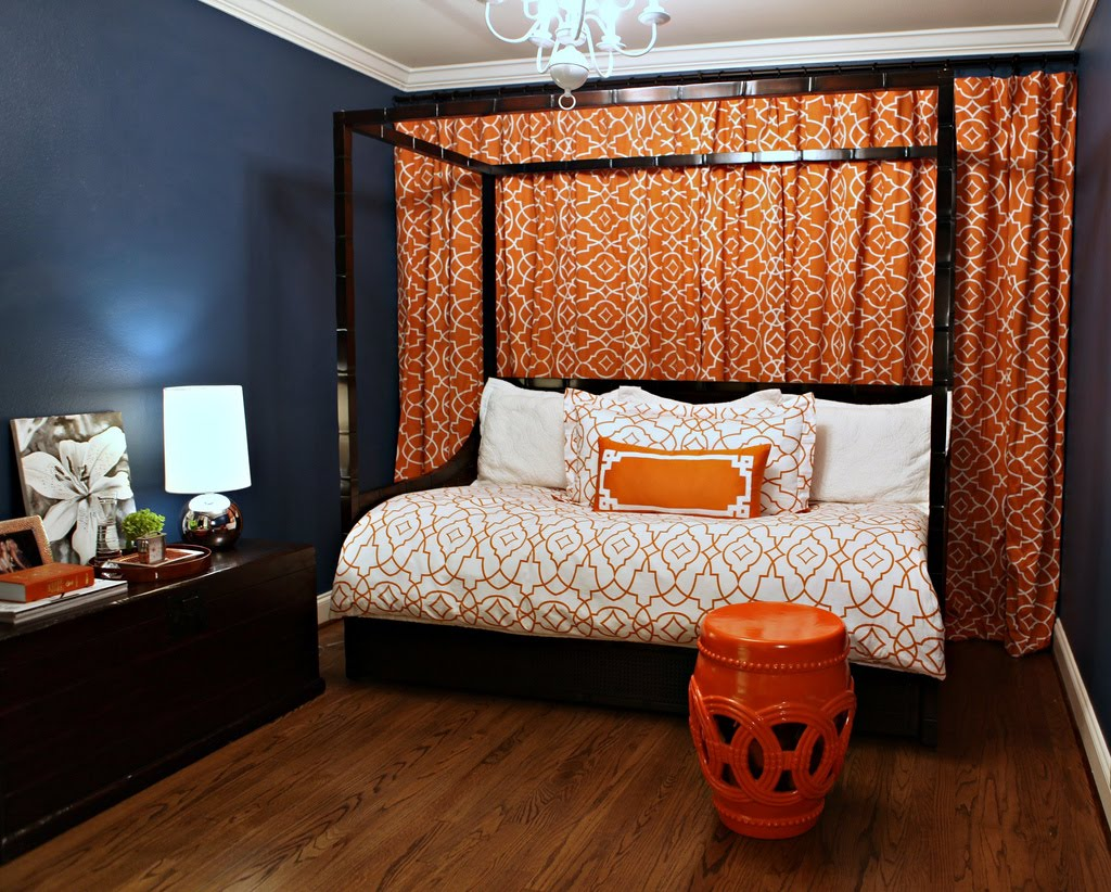 Knight moves trellis bedding and curtains - Curtains with orange walls ...
