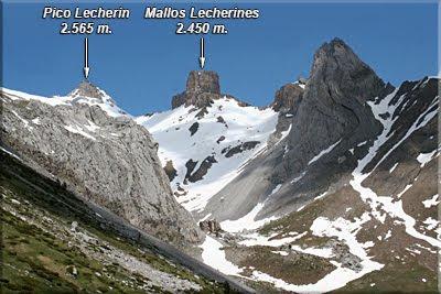 Bco. Estarrún, al fondo Pico Lecherin y los Mallos Lecherines