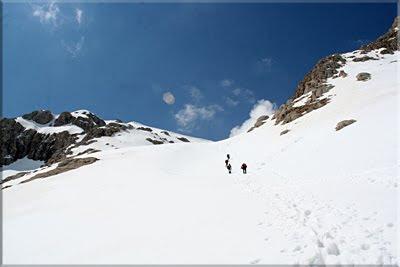 Aquí se inicia el ascenso por la cara norte de Bisaurín