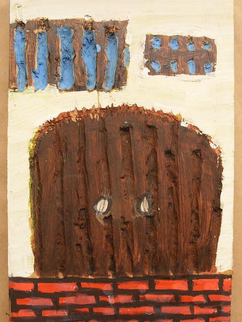 Pintura sobre madeira entalhada