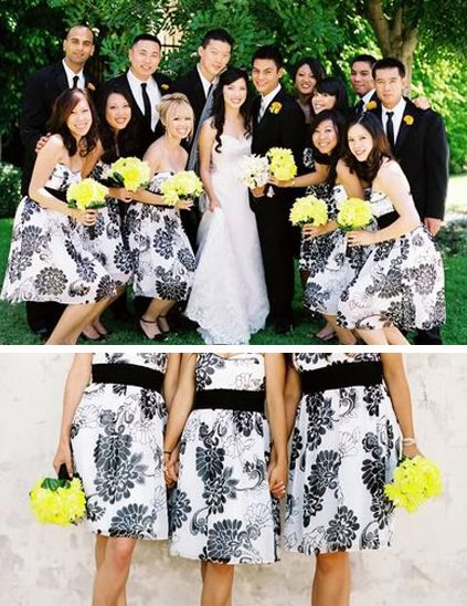 black and white bridesmaid dresses. This lack and white,