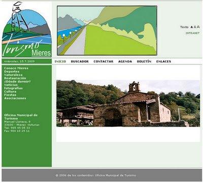 Web de la oficina de turismo de Mieres