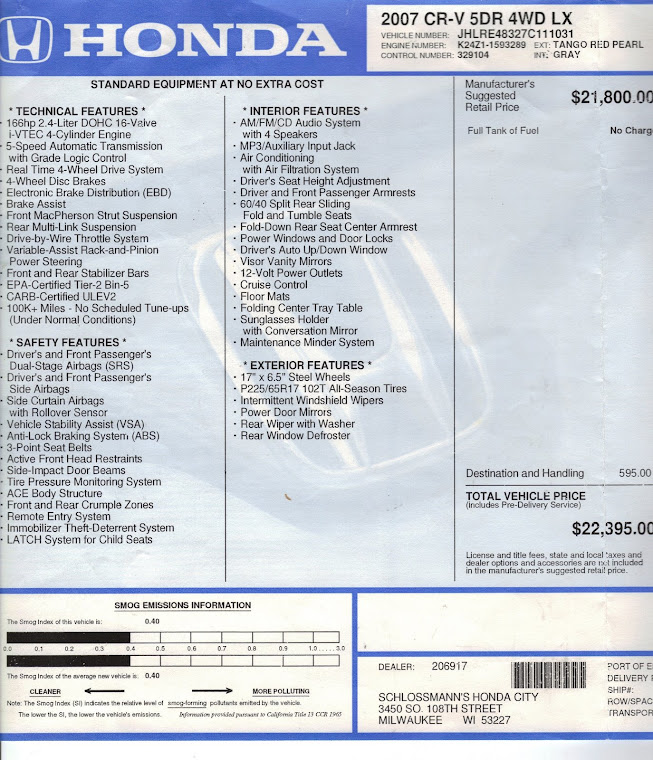 Actual Specs of 2007 CRV that is for sale