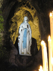 Visite y ore ante la Virgen en la Gruta de Lourdes, Francia: