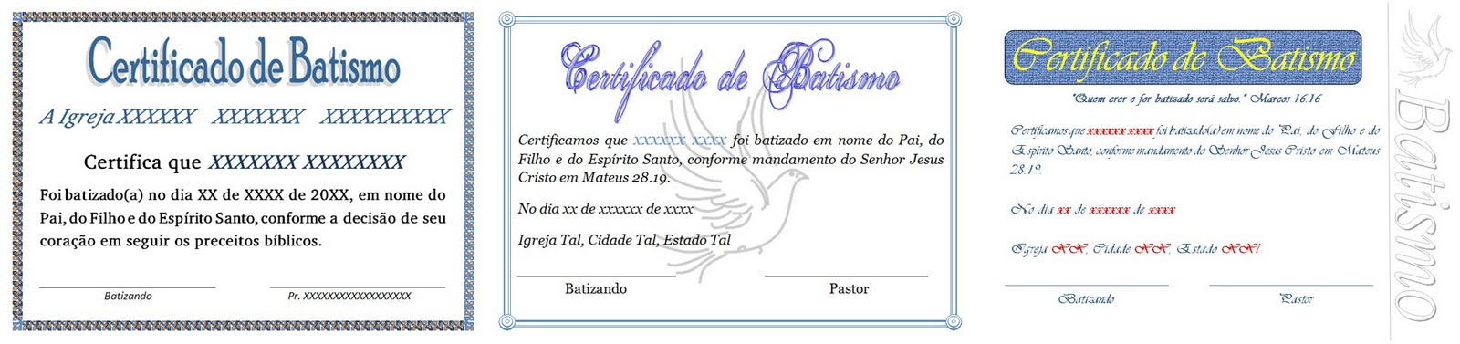 Certificado De Batismo Para Download