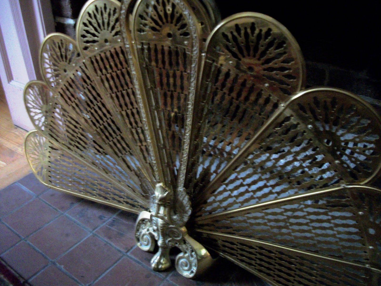 Writing Straight From The Heart: Antique Brass Peacock Fireplace ...